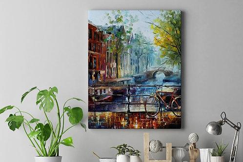 Leonid Afremov,Bicicleta em Amsterdã, quadro, poster, replica, gravura, canvas, reprodução, tela, releitura