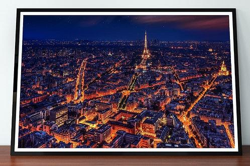 Paris,Visto de Cima,Noite,panorâmica,quadros fotográficos,para,sala,quadros para parede,ponto turístico