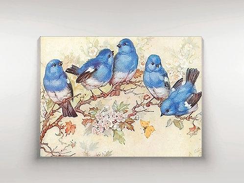 Passarinhos azuis, Pássaro azul, ararinha azul, arara azul, aves, quadro, poster, gravura, reprodução, canvas, replica, tela
