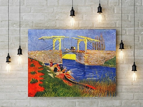 Van gogh, Ponte Langlois em Arles com Lavadeiras,  Bridge at Arles with Women Washing, quadro, poster, gravura, canvas