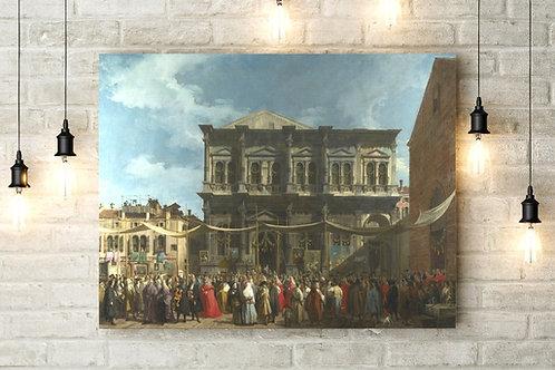 Canaletto, Festa de São Rocco, veneza, quadro, poster, replica, canvas, gravura, reprodução, tela, releitura, fototela,tela