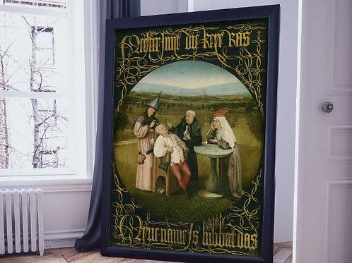 Hieronymus Bosch,Extração da Pedra da Loucura,quadro,reprodução,poster,canvas,gravura,replica,fototela,tela,pintura,releitura