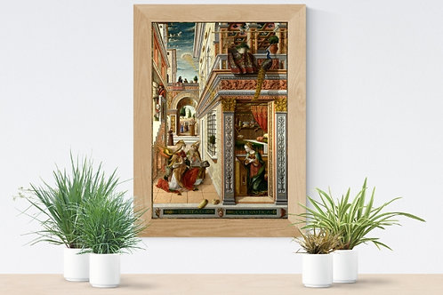 Carlo Crivelli,A Anunciação, com Santo Emídio,quadro,reprodução,poster,canvas,gravura,replica,fototela,tela,pintura,releitura