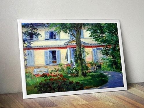 edouard Manet, Casa em Rueil, House of rueil, quadro, poster, gravura, canvas, replica, reprodução, releitura