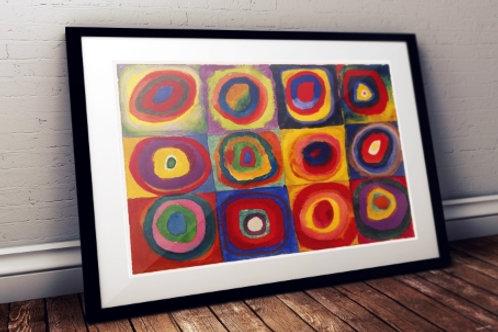 wassily kandinsky Quadrados com Círculos Concêntricos, Estudo de cores, poster, gravura, reprodução, canvas, replica, releitu