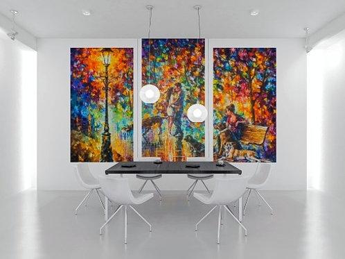 leonid afremov, casal apaixonado,conjunto de quadros, quadros decorativos, quadros modernos,quadros para sala,de estar,jantar