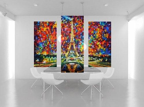 leonid afremov, torre eiffel, conjunto de quadros, quadros decorativos, quadros modernos,quadros para sala,de estar,jantar