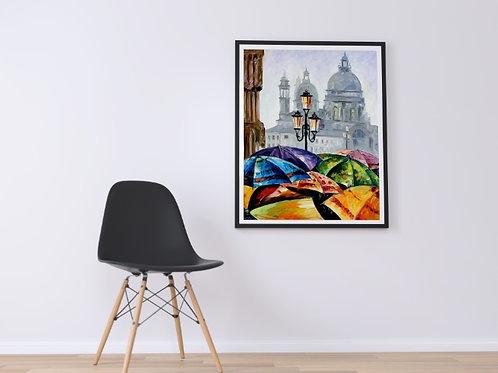Leonid Afremov,Guarda-chuvas em Veneza, quadro, poster, replica, gravura, canvas, reprodução, tela, releitura
