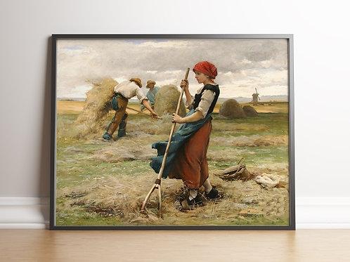 Julien Dupré,Colheita,paisagem,sitio,fazenda,chácara,quadro,poster,replica,canvas,gravura,reprodução,tela,releitura,fototela