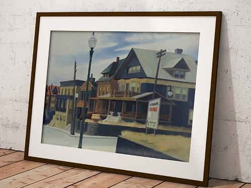 Edward Hopper,Vento Oriental Sobre Weehawken,realismo,poster,gravura,reprodução,réplica,canvas,releitura,tela,pintura