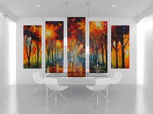leonid afremov, caminho, jardim, conjunto de quadros, quadros decorativos, quadros modernos,quadros para sala,de estar,jantar