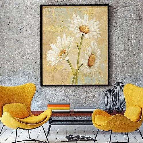 quadro margaridas, poster margaridas, gravura margaridas, tela decorativa, quadro, poster, gravura, reprodução,canvas,replica