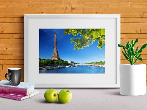 Torre Eiffel,Paris,Céu azul,fotografia,cidade,quadro,canvas,poster,replica,gravura,reprodução,fototela,tel