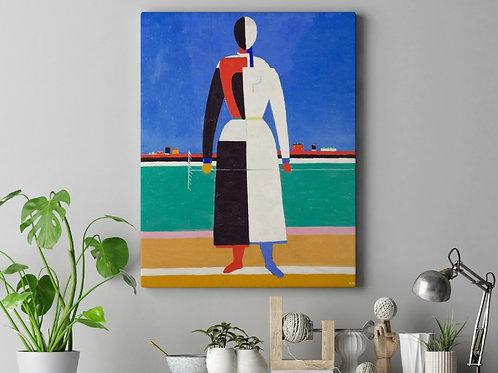 Kasimir Malevich,  Mulher com Ancinho, quadro, canvas, poster, replica, gravura, reprodução, fototela, tela, pintura