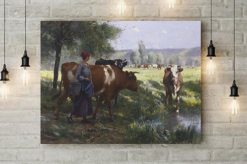 Julien Dupré, Jovem leiteira,quadro, poster, replica, canvas, gravura, reprodução, tela, releitura, fototela