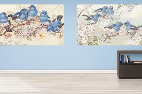 conjunto de quadros, pássaros azuis, passarinhos azuis, pássaro, azul, quadro, poster, gravura, reprodução, canvas, replica