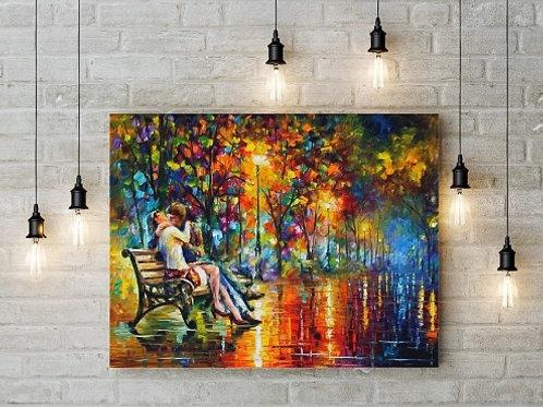 Quadro decorativo, sala, casal no banco, Leonid Afremov, Espatulado, quadro, poster, replica, gravura, canvas, reprodução