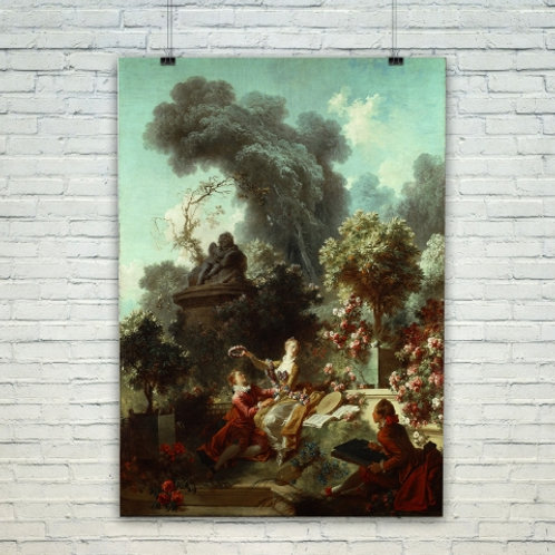 Jean Honoré Fragonard, O Progresso do Amor, Amor Coroado, quadro, poster, gravura, canvas, réplica, reprodução, tela, pintura