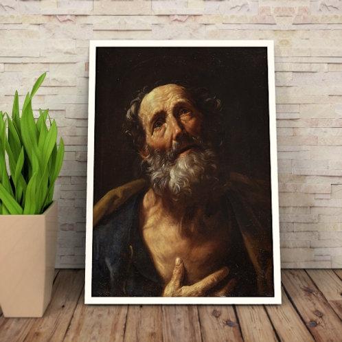 Guido Reni, São Pedro, quadro, poster, replica, canvas, gravura, reprodução, tela,releitura, fototela