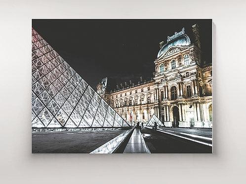 Fotografia,Museu,Louvre,Pirâmide,Preto e Branco,Paris,França,quadro,canvas,poster,replica,gravura,reprodução,fototela,tel