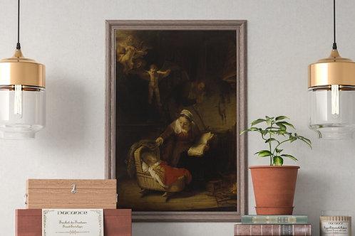Rembrandt, Sagrada Familia com Anjos, quadro, canvas, poster, replica, gravura, reprodução, fototela,tela,pintura