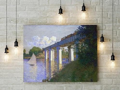 Monet Ponte em Argenteuil, the bridge at argenteuil, ponte de argenteuil, quadro, poster, replica, canvas, reprodução,gravura