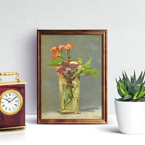 edouard Manet, Flores no vaso de cristal, quadro, poster, gravura, canvas, replica, reprodução, tela, Flowers Vase Crystal