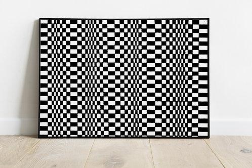 Quadro,Poster,Gravura,3d,Op Art, Arte Ótica,ilusão ótica,Minimalista,Canvas,preto e branco,ondas,abstrato,decorativo,fototela