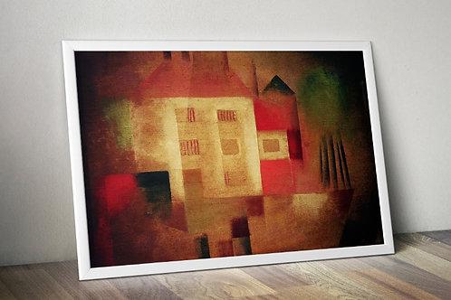 Paul Klee,Casa Nova nos Subúrbios,New House in Suburbs, quadro,canvas,poster,replica,gravura,reprodução,fototela,tela,pintura
