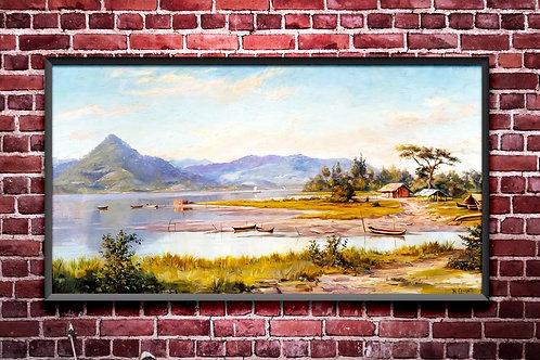 Benedito Calixto,Baía de São Vicente,Quadro decorativo,Colorido,quadro,poster,replica,gravura,canvas,reprodução