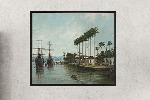 Benedito Calixto,Porto de Santos (visto à direita),poster,gravura,reprodução,réplica,canvas,releitura,tela,pintura