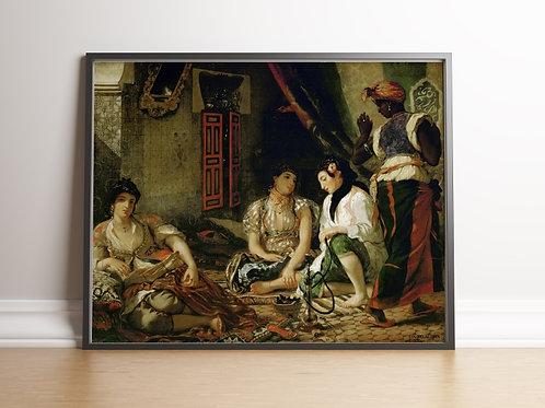 Eugène Delacroix,Mulheres em Argel,quadro, poster, replica, gravura, canvas, reprodução, tela, releitura