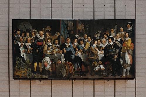 Bartholomeus van der Helst,Banquete da Guarda Cívica de Amsterdã em Comemoração da Paz de Münster,quadro,poster,canvas,gravur