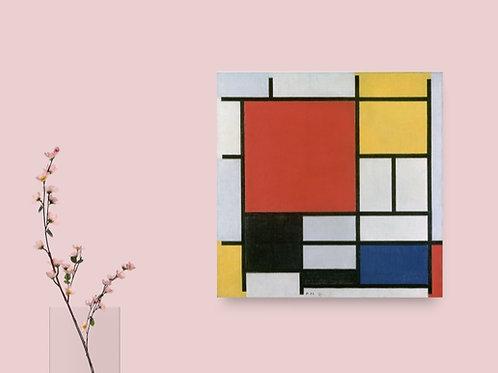 Mondrian, Composição com Grande Plano Vermelho, Amarelo, Preto,quadro, poster, gravura, canvas, replica,reprodução