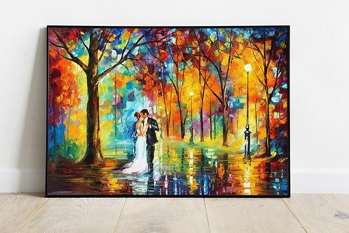 Quadro decorativo, sala, casal na chuva, Leonid Afremov, Espatulado, quadro, poster, replica, gravura, canvas, reprodução
