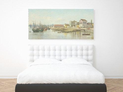 Benedito Calixto,Porto do Bispo,Santos,poster,replica,canvas,gravura,reprodução,tela,releitura,cópia,pintura