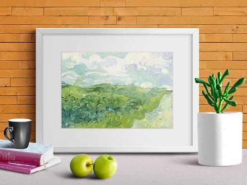 Vincent,Van Gogh,Campos de Trigo Verde em Auvers,quadro, poster, gravura, canvas, replica, reprodução, tela, pintura,copia