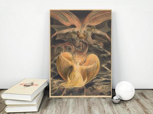 William Blake,O Grande Dragão Vermelho e a Mulher Vestida de Sol,,quadro,poster,réplica,canvas,gravura,reprodução,tela,fotote