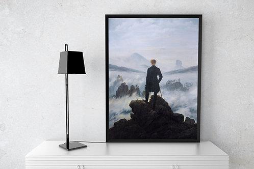 Caspar David Friedrich,Caminhante sobre o Mar de Névoa,viajante,quadro,poster,replica,gravura,canvas,reprodução,tela,giclee