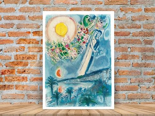 Marc Chagall,Noivos no Céu em Nice,quadro,canvas,poster,replica,gravura,reprodução,tela,pintura,giclee,fine art