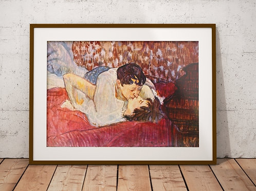 Toulouse Lautrec, Na Cama, o beijo, in bed, the kiss, poster, gravura, reprodução, canvas, replica, releitura