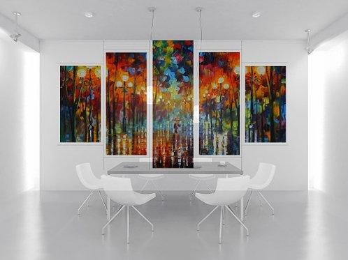 leonid afremov, chuva parque, conjunto de quadros, quadros decorativos, quadros modernos,quadros para sala,quarto,cozinha