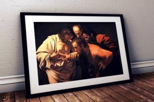 Caravaggio, A incredulidade de São Tomé, quadro, poster, replica, canvas, gravura, reprodução, tela, releitura