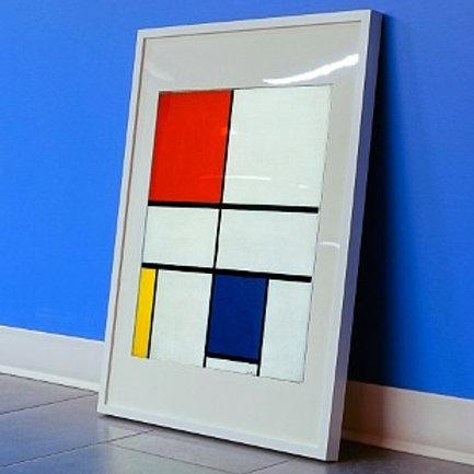 piet Mondrian, Composição com Branco, Vermelho, Amarelo e Azul, quadro, poster, gravura, canvas, replica, reprodução, releitu