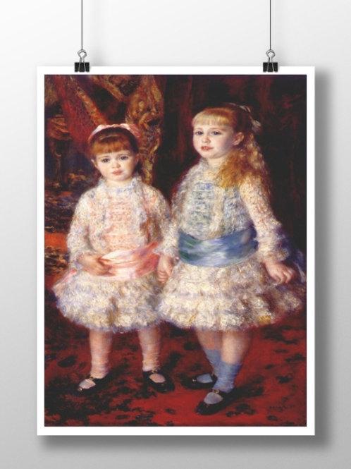 Renoir, Rosa e Azul, As meninas Cahen d'Anvers,1881, meninas de rosa e azul, quadro, poster,gravura,replica,reprodução,canvas