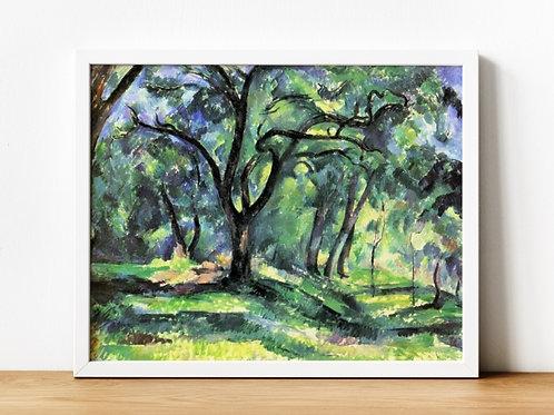 paul cezanne,Floresta Azul,Forest,quadro, poster, gravura, reprodução, canvas, replica, tela