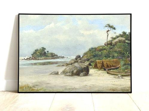 Benedito Calixto,Prainha,Itanhaém,Praia de Itanhaém, quadro, poster, gravura,replica,canvas,reprodução,tela,fotela,pintura