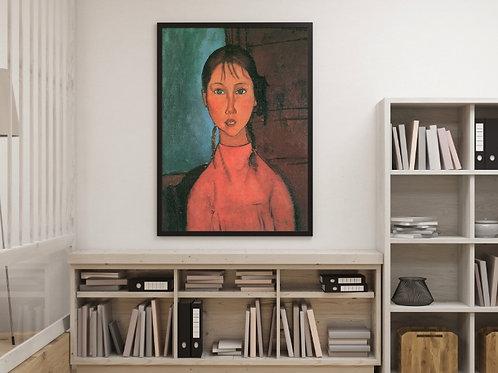 Modigliani,Menina com Tranças,Girl with Pigtails,quadro,poster,gravura,réplica,reprodução,canvas,tela,pintura,fototela
