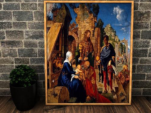 Albrecht Dürer,Adoração dos Magos,quadro,canvas,poster,replica,gravura,reprodução,canvas,fototela,tela,pintura,religião,Jesus