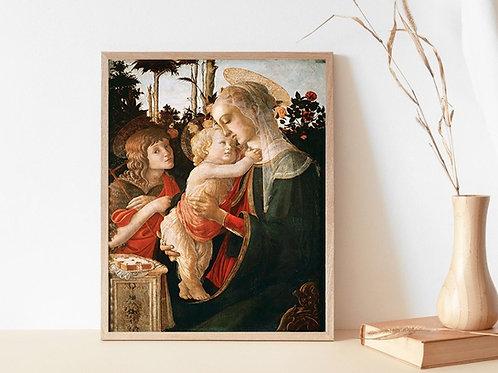 Botticelli,Virgem e criança com o jovem São João Batista,Jesus,Cristo,quadro,poster,gravura,replica,canvas,pintura,tela